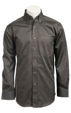 2f7be0fe3c89f Ariat Mens L S Solid Bracken Grey Shirt 10011410