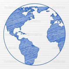 how to draw a globe | drawing world globe 5 — Stock Vector © Yuliyan Velchev #8130642