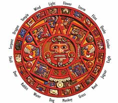 """Aztec Sacred Calendar. The Tonalpohualli, translated as """"counting of the days"""" was a 260-day cycle of 13 months with 20 days each."""
