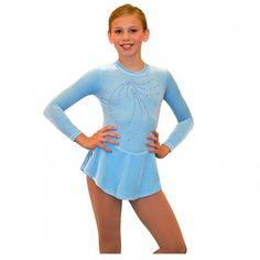 Chloe Noel Blue Velvet Long Sleeve Ice Skating Dress Little Girls 4-14