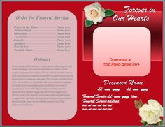 Free Funeral Program Obituary Template White Rose Red Background http://funeralprogramtemplates.blogspot.com/2015/04/white-rose-funeral-program-template-red-background.html
