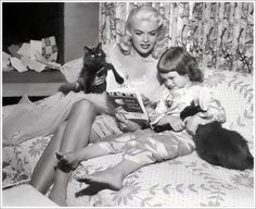 Jayne Mansfield and her daughter Jayne Marie, two Persians, Sabrina and Ophelia. Jayne also extends her hospitality to an ordinary alley cat named Romulus, a Chihuahua, a Great Dane, two turtles and a rabbit. C. 1955