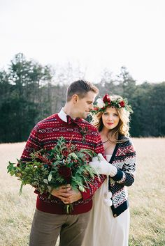 Cozy Winter Wedding Portraits with Navy and Red Sweaters   Nicole Colwell Photography   Festive Styled Wedding in the Winter Woods - with a Corgi in a Holiday Sweater!
