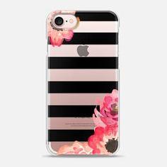 iPhone 7 Case Striped Florals (Transparent)