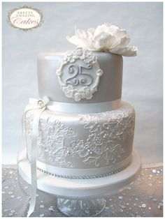Image result for silver anniversary cake