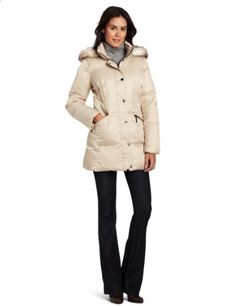 Hilary Radley Women's Long Zip Front Down Jacket With Snap Placket And Faux  Fur Trim Hilary