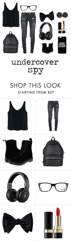 """undercover spy."" by shaista1979 ❤ liked on Polyvore featuring MANGO, Balmain, Dr. Martens, Yves Saint Laurent, Ray-Ban and Dolce&Gabbana"