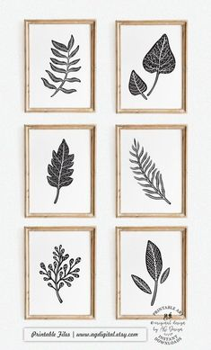 Abstract Leaf Prints - Set of 6, Black and White Art, Nature Poster, Nordic Modern Decor, Living Room Gallery wall art, Scandinavian Art White Art, Black And White, White Decor, Black Art, Or Mat, Nature Posters, Boss Lady Gifts, Scandinavian Art, Teacher Appreciation Gifts