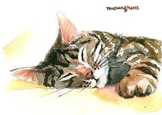 """ACEO Limited Edition 7/25 - """"Cat nap time"""" - Art print of an original watercolor painting by Anna Lee"""