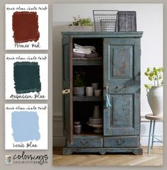 Colorways with Leslie Stocker » Country Blue Wardrobe Annie Sloan Chalk Paint®  Aubusson Blue, Primer Red, Louis Blue