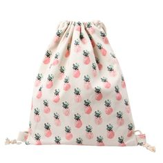 Tropical Pink Pineapples bring a bit of vintage flair to this drawstring style backpack. Size:34*40cm Interior: Interior Slot Pocket Strap Type:Retractable Lining Material:Polyester Main Material:Canv