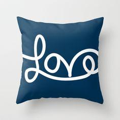 Love - Navy Throw Pillow by PrintableWisdom - $20.00