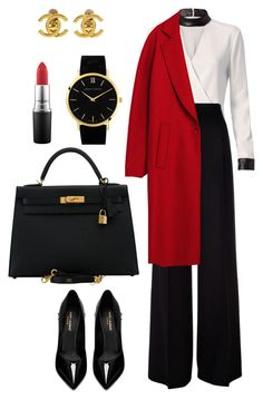 A fashion look from November 2016 featuring shirt blouse, red coat and maxmara pants. Browse and shop related looks. Classy Work Outfits, Business Casual Outfits, Dressy Outfits, Mode Outfits, Business Fashion, Chic Outfits, Winter Fashion Outfits, Suit Fashion, Work Fashion