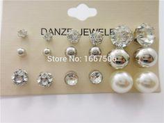 12 пара/лот новинка классический стиль бусины кристалл серьги , установленные для женщин штраф жемчужные украшения оптовая продажа цена 7 стиль
