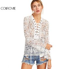 Lace Women Shirt Long Sleeve Womens Sexy Blouse Ladies Shirts White Eyelet Lace Up Flare Sleeve Lace Blouse WOW Visit our store