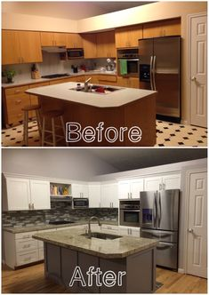 KITCHEN REMODEL: Before And After Of Our Kitchen. New Hardwood Flooring,  Granite, Backsplash, And Paint. I Love The Outcome!