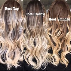 beautylaunchpad A great visual from to share with clients when they're deciding what kind of look they want 💯❤️ What's your favorites? Blonde With Dark Roots, Blonde Roots, Dark Blonde, Balayage Hair Blonde, Brown Blonde Hair, Bayalage, Haircolor, Root Smudge Blonde, Shadow Root Blonde