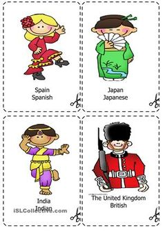 This is a set of cards for teaching countries and nationalities related vocabulary. - ESL worksheets