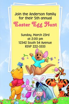A Winnie The Pooh Frame Easter Invitations Easter Invitations, Diy Invitations, Easter Party, Egg Hunt, Printing Services, Easter Eggs, Winnie The Pooh, Software, Digital