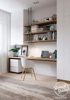 31 White Home Office Ideas To Make Your Life Easier; home office idea;Home Office Organization Tips; chic home office. Home Office Furniture Design, Interior, Home, Office Interiors, Modern Office Design, House Interior, Home Office Design, Trendy Home, Office Design