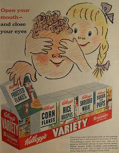 1950s Kelloggs RICE KRISPIES Corn Flakes VARIETY 10 pack Vintage Illustration Advertisement