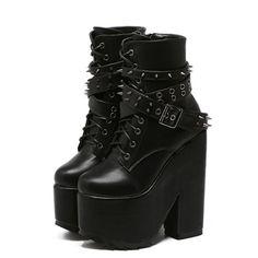 2016 Nuevas Mujeres de Los Remaches de la Hebilla Motocicleta Plataforma de Arranque Martin Gruesas Heel Gothic Punk Lace Up Zapatos De Tacón Alto Negro Envío gratis