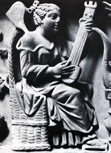 Roman pandura, from a Sarcophagus with weddeings of Cupido & Psyche, end of 2nd century C.E. from San Cesareo in Palatio, Rome (British Museum)
