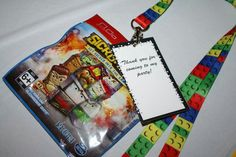 Sick Bricks party favor!  Lego bricks lanyard with a Sick Bricks blind pack attached. :)