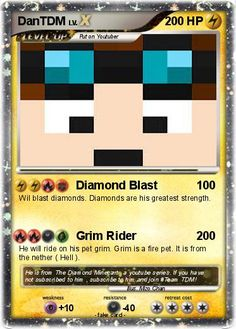 dantdm | Pokemon DanTDM Minecraft Cards, Minecraft Spider, Minecraft Posters, Pokemon Room, My Pokemon, Fake Pokemon Cards, The Diamond Minecart, Minecraft Bedroom Decor, Youtube Gamer