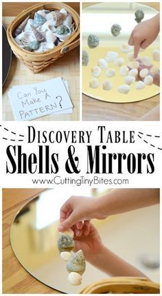 Shells And Mirrors On The Discovery Table. Independedent activity to encourage quiet exploration and loose parts play with natural materials. Fun for a beach or ocean theme for preschoolers or kindergarten, incorporating math, science, and art!