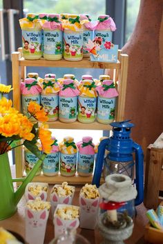 Drinks at a fairy garden birthday party! See more party planning ideas at CatchMyParty.com!
