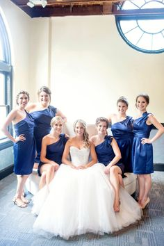 Amy Allen Photography. 214 Martin Wedding. Blue cocktail bridesmaid dresses
