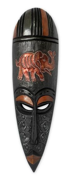 African Wood Mask - African Elephant Spirit I | NOVICA