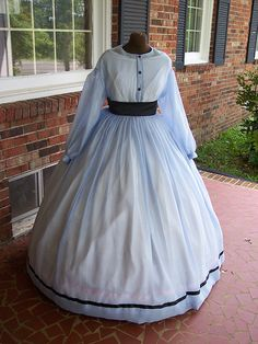 soft blue Sheer civil War Gown