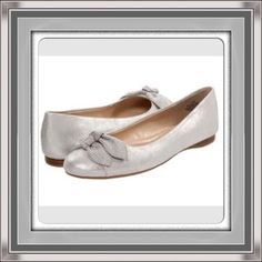 Nine West Silver Ballet Flats With Bows Silver Metallic Flats with cute double bows. Never worn. BNIB. No Trades, No PP. Price Firm!! Nine West Shoes Flats & Loafers