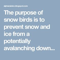 The purpose of snow birds is to prevent snow and ice from a potentially avalanching down that may injure people, and also it might damage plants and any other properties below the surface.