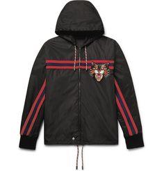 GUCCI Appliquéd Shell Hooded Jacket. #gucci #cloth #coats and jackets
