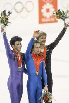 Scott Hamilton wins gold in men's figure skating 1984 Winter Olympics held at Sarajevo, Yugoslavia. L-R Brian Orser (CAN),Scott Hamilton (USA), and Jozef Sabovcik (Czechoslovakia)