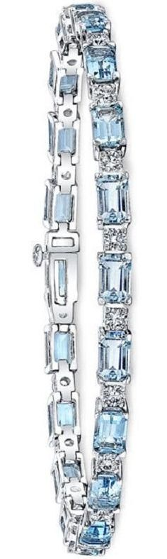 Add the finishing touch with this gorgeous Emerald Cut Aquamarine & Diamond Bracelet.