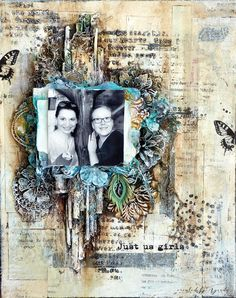 Vintage layout on canvas made during Olga Heldwein's class in Finland