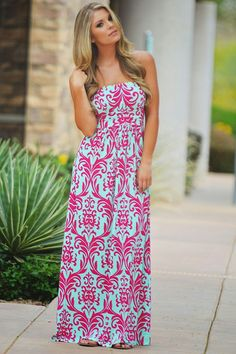 Candy Shop Maxi Dress - Fuchsia Damask from Closet Candy Boutique