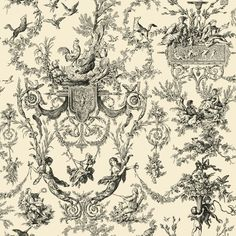 Found it at Wayfair - Black and White Old World Toile Wallpaper