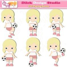 Dilek Girl Playing Soccer - clipart for soccer girls.  Cute for scrapbooking, crafts and card making.