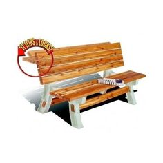 Create your very own park style bench that converts into a picnic table. This can be done without any tools, just use 2x4's you get from the lumber yard. Ideal for all the family get togethers this summer.Free shipping to the lower 48.