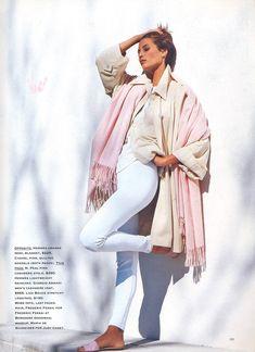 """Pales by Comparison"", MIRABELLA US, June 1990Photographer: Brigitte LacombeModel: Christy Turlington"