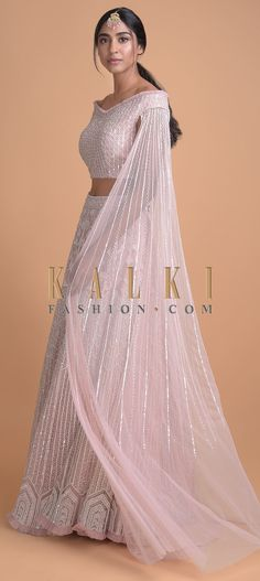 Powder Pink Hand Embroidered Lehenga And Off Shoulder Crop Top With Attached Dupatta Online - Kalki Fashion Indian Wedding Gowns, Desi Wedding Dresses, Party Wear Indian Dresses, Indian Bridal Lehenga, Indian Gowns Dresses, Indian Bridal Outfits, Dress Indian Style, Indian Fashion Dresses, Indian Designer Outfits