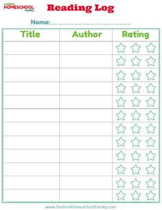I like this reading log because it has 1. title 2. author 3. rating.  (nothing about rewards, no. of pages, a parent's signature, etc.)  For reference.