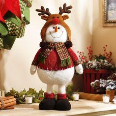 Plush Snowman with Reindeer Hat | Kirklands