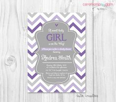 Baby shower girl chevron lavender, purple and grey printable invitation by ceremoniaGlam on Etsy https://www.etsy.com/listing/175032920/baby-shower-girl-chevron-lavender-purple