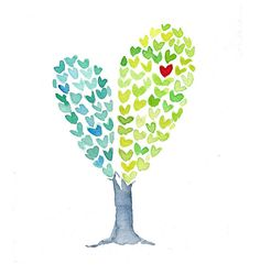 Heart Tree  art Print of an original watercolor by TheJoyofColor, $21.00